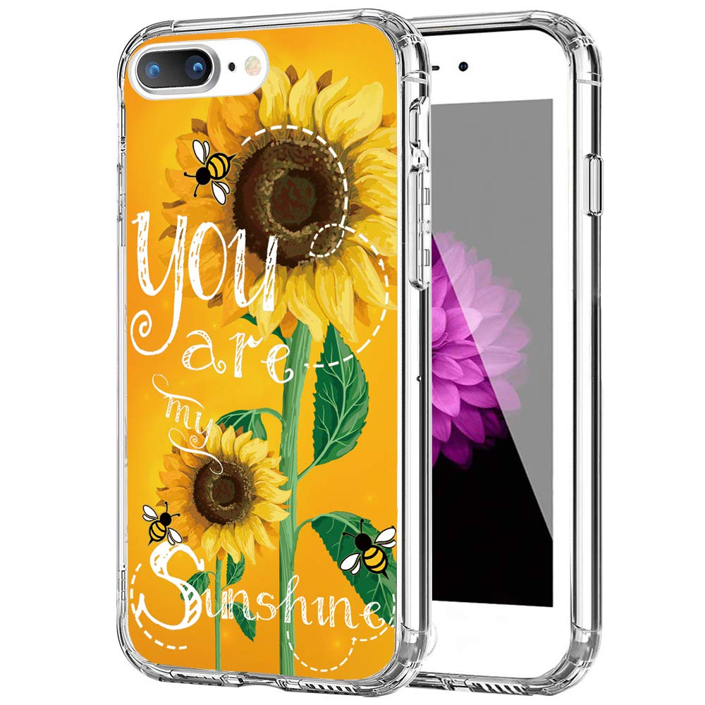 """cocomong Sunflower Phone Case Compatible with iPhone 8 Plus Case for Women Cute Protective Cover for iPhone 7 Plus Case for Girls,Yellow Flower Floral Clear Soft TPU Shockproof Anti-Scratch Slim 5.5"""""""