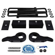 "Supreme Suspensions - Full Lift Leveling Kit for K1500 Tahoe Suburban Yukon Adjustable 1"" to 3"" Front Lift Torsion Keys + 1.5"" Rear Lift Blocks + Square Bend U-Bolts + Axel Shims 4WD"