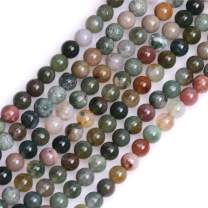 GEM-Inside Natural 4mm Indian Agate Gemstone Loose Beads Round Crystal Energy Stone Power for Jewelry Making 15""
