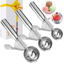 Cookie Scoop Set, Ice Cream Scoop Set of 3, Cookie Scooper with Trigger Large Medium Small Ice Cream Scoopers, 18/8 Polished Stainless Steel Melon Ballers Cookie Scooper - Christmas Gift