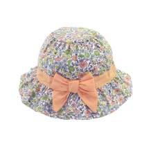 DANMY Baby Girl Wide Brim Bucket Hats with UPF 50+ Outdoor Adjustable Beach Hat with Sun Hat (18.11 in / 6-12 Months, H-Orange)