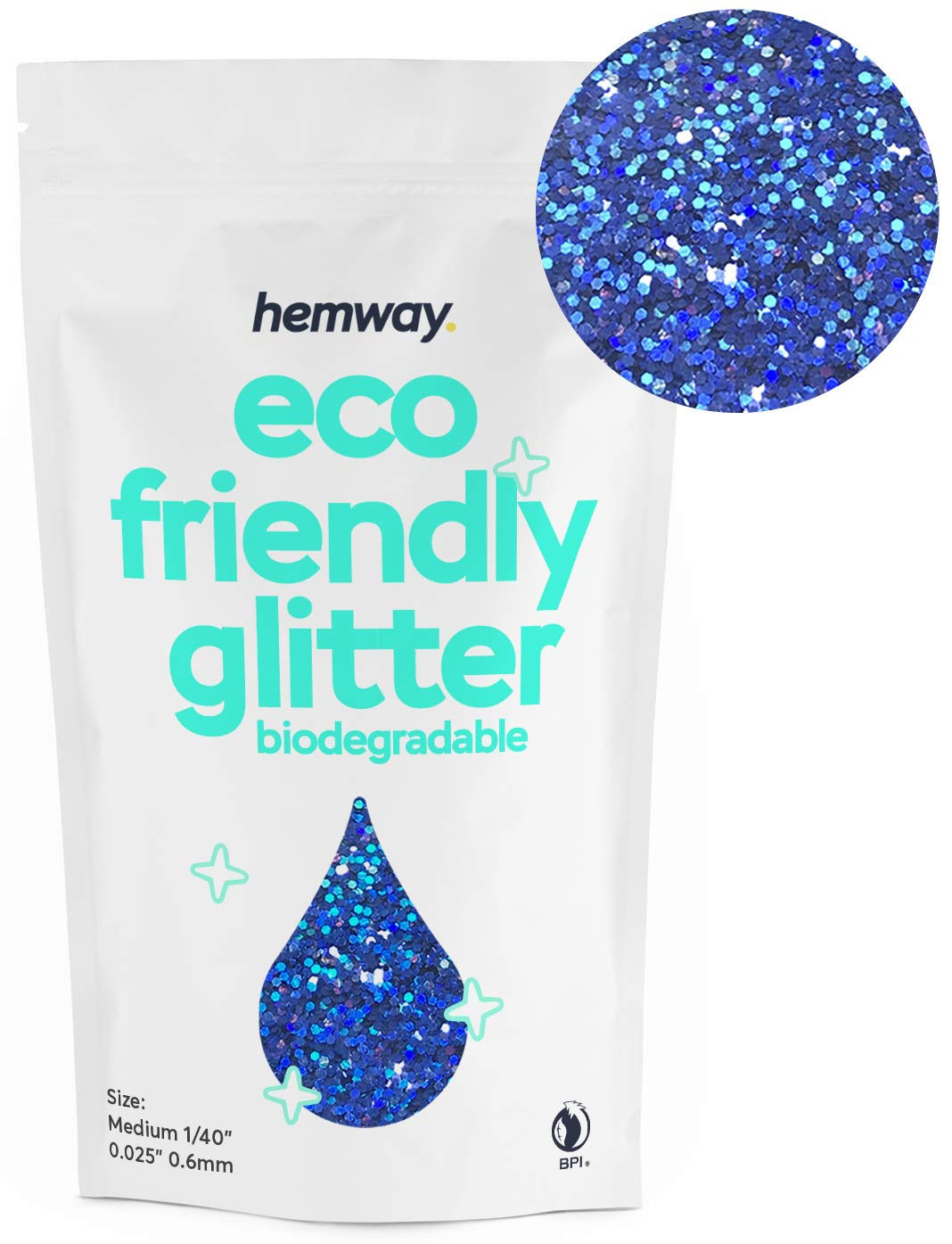 """Hemway Eco Friendly Biodegradable Glitter 100g / 3.5oz Bio Cosmetic Safe Sparkle Vegan For Face, Eyeshadow, Body, Hair, Nail And Festival Makeup, Craft - 1/40"""" 0.025"""" 0.6mm - Sapphire Blue Holographic"""