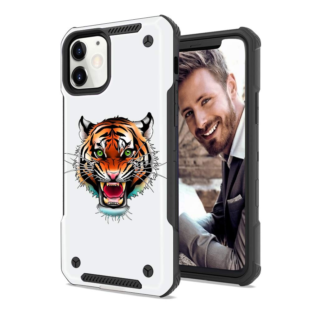 SOKAD iPhone 11 Case Embossed Tiger Soft TPU Matte Frosted and Hard PC Dual Layer Protection Shockproof Case Cover for iPhone 11 (6.1 Inch)