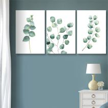 """wall26 3 Panel Canvas Wall Art - Watercolor Style Tropical Plant Leaves - Giclee Print Gallery Wrap Modern Home Decor Ready to Hang - 24""""x36"""" x 3 Panels"""