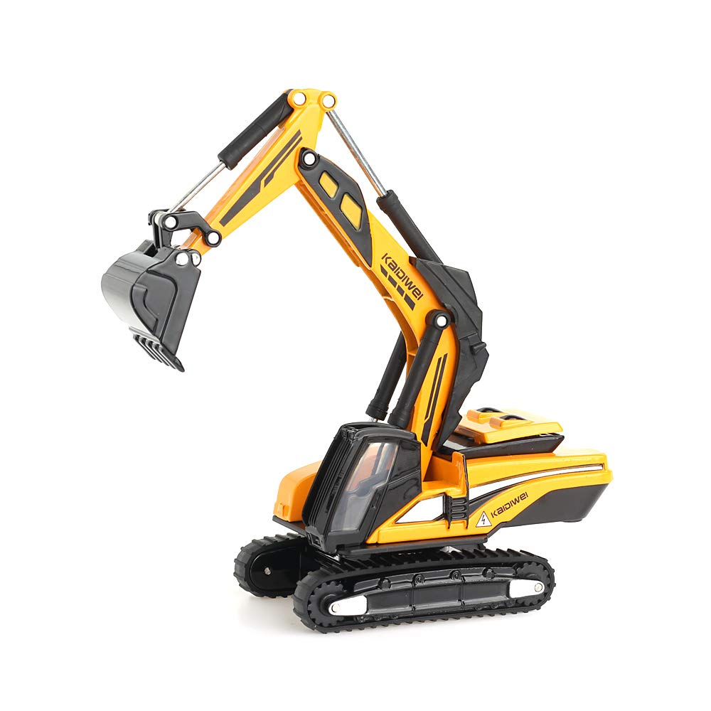 duturpo 1/87 Scale Diecast Mini Excavator, Metal Construction Vehicles Trucks Toys for Boys Kids (Yellow)