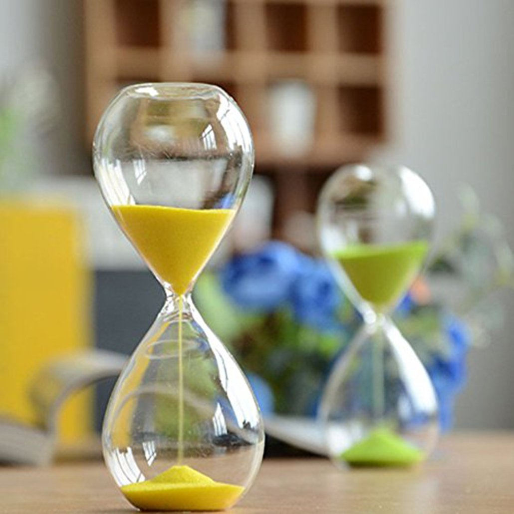 Large Fashion Colorful Sand Glass Sandglass Hourglass Timer Clear Smooth Glass Measures Home Desk Decor Xmas Birthday Gift (Yellow, 5 Minutes)