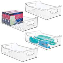 """mDesign Stackable Plastic Home, Office Storage Bin Container - Desk and Drawer Organizer Tote with Handles - for Gel Pens, Pencils, Markers, Erasers, Tape, Notepads - 14.5"""" Long, 4 Pack - Clear"""