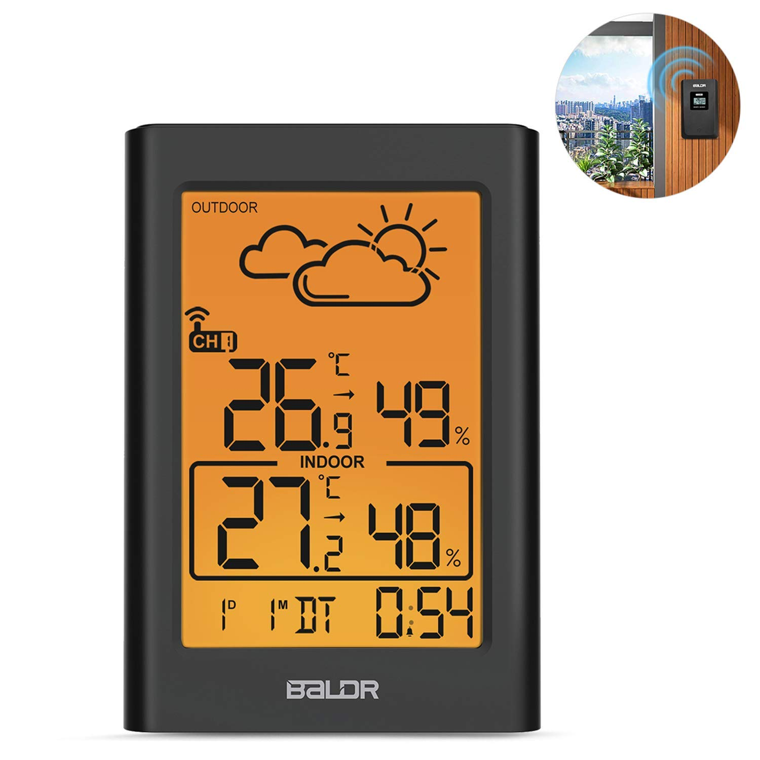 Zeonetak Digital Indoor Outdoor Thermometer Wireless Hygrometer Meter Gauge, Temperature and Humidity Monitor with Remote Sensor LCD Backlight Min/Max Record for Baby Kids Bedroom Kitchen Greenhouse