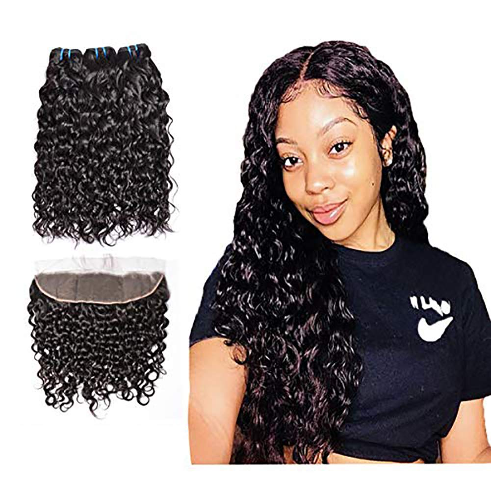 Brazilian Human Hair Water Wave 3 Bundles with Lace Frontal Closure(16 18 18 with 14), Wet and Wavy, 9A Ear To Ear Frontal With Baby Hair Human Hair Extensions