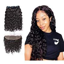 Brazilian Human Hair Water Wave 3 Bundles with Lace Frontal Closure(12 14 16 with 10), Wet and Wavy, 9A Ear To Ear Frontal With Baby Hair Human Hair Extensions