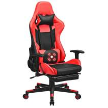 Giantex Massage Gaming Chair, Adjustable High Back with Health Massager Lumbar Support, Thick Memory Sponge with 360 Degree Revolving Chair Seat, Retractable Foot Shelf (Red)