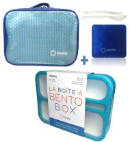 Bento Box with Insulated Bag and Ice Pack Set. Lunch-box or Snack Containers for Kids, Adults. 6 Compartments, Leakproof Boxes for School. Meal Prep Portion Containers. BPA-Free. Blue Kit