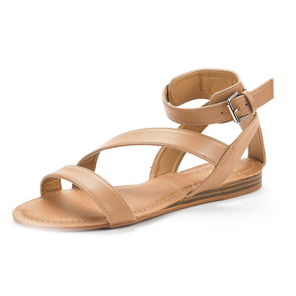 DREAM PAIRS Women's Open Toe Summer Flat Sandals