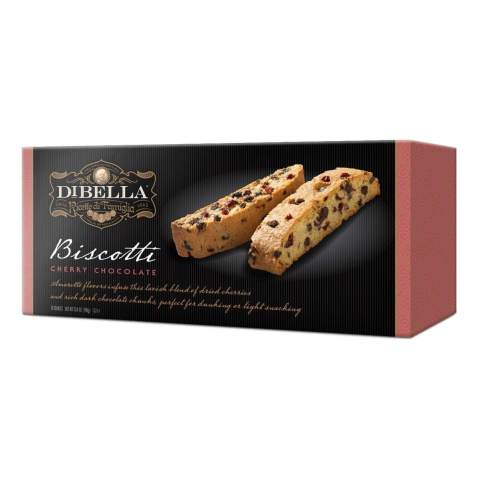 Dibella Biscotti Cookies – Authentic Italian Biscotti, Cherry Chocolate, 12-Count – Gourmet Cantuccini Biscotti – Rich Flavor – Crunchy Outside with Silky Middle – Classic Italian Biscotti