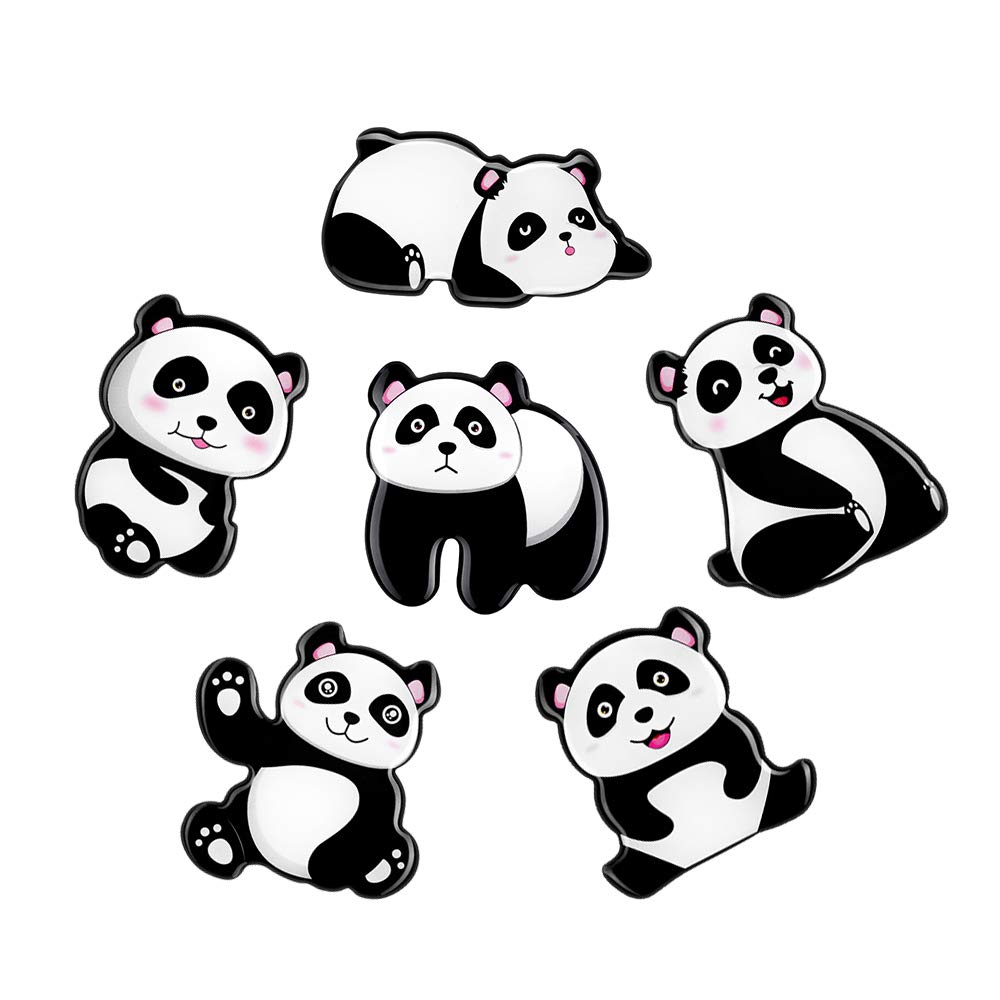SUPCOOKI 6pcs Glass Refrigerator Magnets Decorative Magnet Funny Fridge Magnet Stickers Cute Panda Home Decoration Funny for Office Cabinets Whiteboards Photo Abstract
