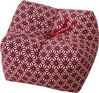 EMOOR Japan Made Natural Buckwheat Hull Seiza Cushion Buckwheat Hull Pillow Medium (9x9x5 in) Hemp Leaves Red