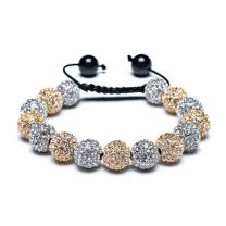 Black Blue White Or Gold Tone Pave Crystal Disco Ball Shamballa Inspired Bracelet for Women Men Adjustable Cord String