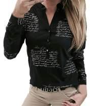 KESEELY Women V Neck Letters Printing Button Long Sleeve White Turndown Collar T-Shirt Tops Blouse