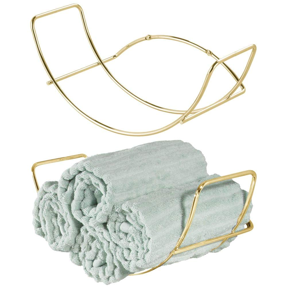 mDesign Modern Decorative Metal Bathroom Wall Mount Towel Rack Organizer for Storage of Bath Sheets, Washcloths, Hand or Face Towels - 2 Pack - Soft Brass