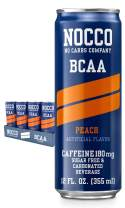 NOCCO BCAA Peach 24 x 12 Fl Oz Carbonated, ZERO Sugar, Low Calorie, Ready to drink BCAA energy drink from fitness oriented No Carbs Company, Vitamin and Caffeine Flavored Carbonated Drinks
