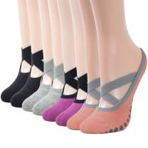 Women Yoga Socks, Gmark Non-slip with Grips for Pilates Pure Barre Dance Fitness, Barefoot Workout(4 pairs 6 pairs)