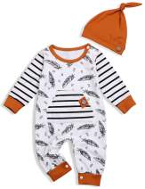 Baby Boy Girl Clothes Toddler 3D Ears Outfits Feather Print Striped Romper Hoodie Sweatshirt Long Sleeve Clothing Set