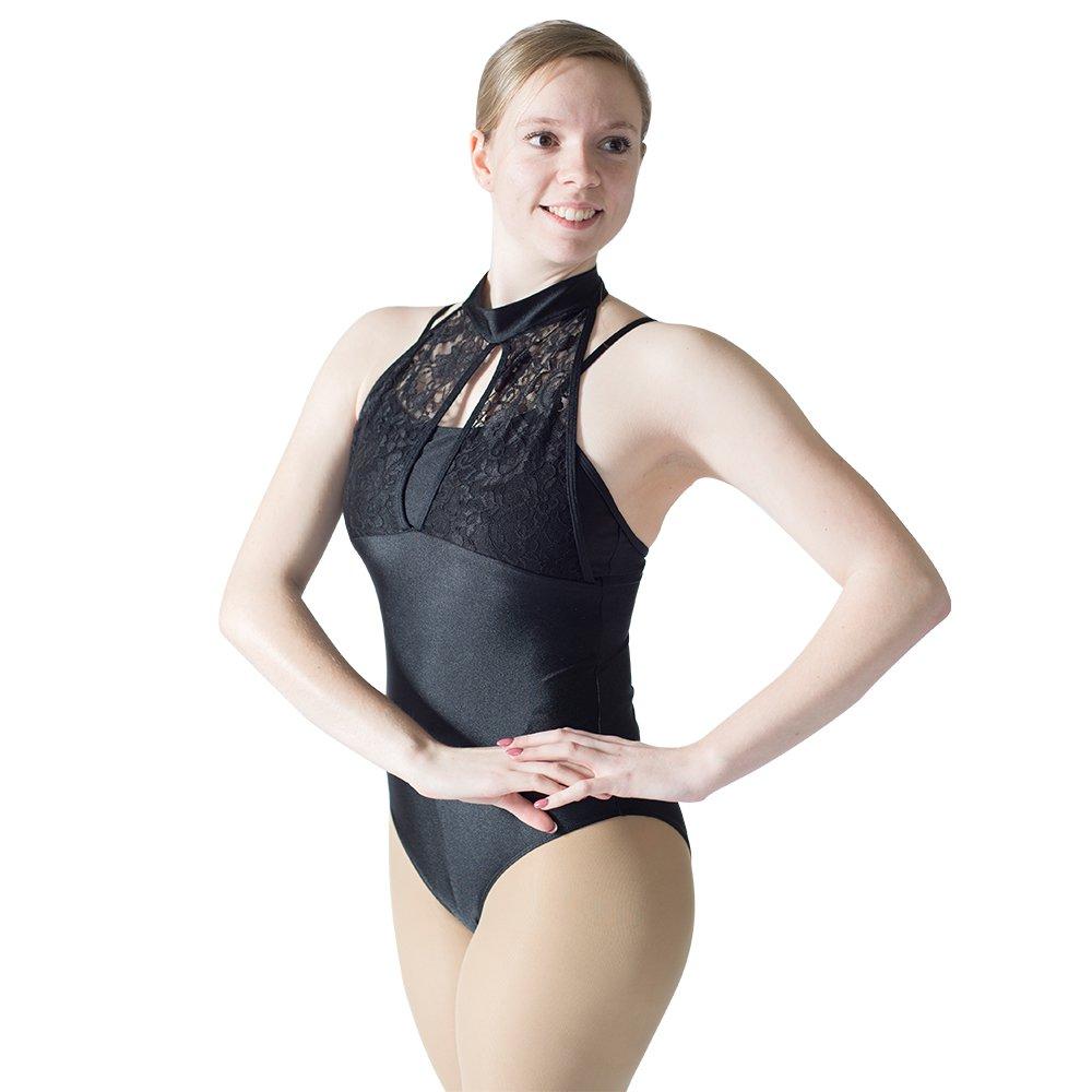 HDW DANCE Women Shiny Lace Turtle Neck Ballet Dance Leotard Gymnastics Bodysuit