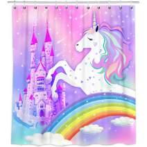 "Bonsai Tree Unicorn Shower Curtain, Waterproof Rainbow Bathroom Curtains for Girls, Pink Magic Castle Fabric Shower Curtains Hooks for Bathroom Decorations Gifts, 72""x72"""