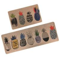 "Kitchen Rugs,GABWE 2 Piece Kitchen Rugs Comfort Vintage Microfiber Non-Slip Rubber Back Doormat mat Area Rug(18""X29""+18""X47"" Pineapple)"