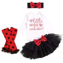 Baby Girl My First Valentines Day Outfit Little Miss Romper Tutu Skirt Leg Warmers Bow with Headband 4PCs Dress Set