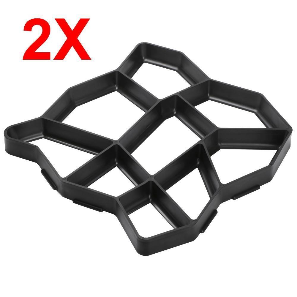 go2buy 2 Pack Plastic Pathmate Walk Way Paver Concrete Stone Mould Paving Mold Black, 16.7 x 16.5 x 1.5''