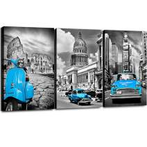 """Teal Canvas Wall Art for Living Room 3 Pieces Framed Prints Painting Simple Life Black and White New York Decor Blue Car Morden Giclee Europe Buildings Picture Home Walls Decorations 12"""" × 16"""" / Panel"""