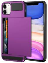 Vofolen Case for iPhone 11 Case Wallet Credit Card Holder ID Slot Sliding Door Hidden Pocket Anti-Scratch Dual Layer Hybrid Bumper Armor Protective Hard Shell Back Cover for iPhone 11 6.1 Purple
