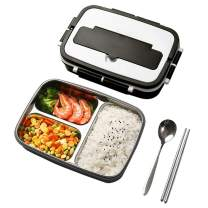 Bento Box 3 Compartment Stainless Steel Lunch Containers for Kids and Adults Leak Proof BPA-Free Lunch Box with Scoop&Fork&Chopsticks(Black)