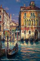 "Cao Yong - Venetian Sunset - Limited Edition, Hand-Embellished Giclee Print On Canvas | Individually Numbered & Signed| American-Chinese Contemporary Art Master Painting Series | 28"" by 42"", Unframed"