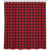 "Bonsai Tree Red Black Buffalo Plaid Shower Curtain Sets, Rustic Check Tartans Bathroom Decor, Waterproof Bath Curtain with Rings, 66""x72"""
