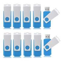 Aiibe 16GB Flash Drive 16 GB USB Flash Drive 10 Pack USB 2.0 Thumb Drive Swivel USB Drives 16GB - Sky Blue