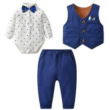 famuka Baby Boy 3 Piece Formal Outfit Suit with Bows Waistcoat Gentleman Tuxedo