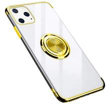 GRKJGytech iPhone 11 Pro Case Ring,Clear Holder Car Magnetic Slim Fit Soft TPU Flexible Silicone Protective Cover for iPhone 11 Pro(Gold)