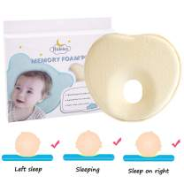 Hidetex Baby Pillow - Preventing Flat Head Syndrome (Plagiocephaly) for Your Newborn Baby,Made of Memory Foam Head- Shaping Pillow and Neck Support (0-12 Months)(Heart Yellow)