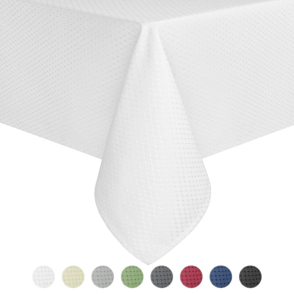 Eforcurtain Classic Oblong Table Cover Water Repellent Fabric Waffle Weave Tablecloth for Weddings, Pearl White, 60 By 102-inch