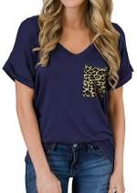 Womens V Neck Summer Short Sleeve T-Shirt Leopard Front Pocket Casual Loose Basic Tunic Shirt Tops