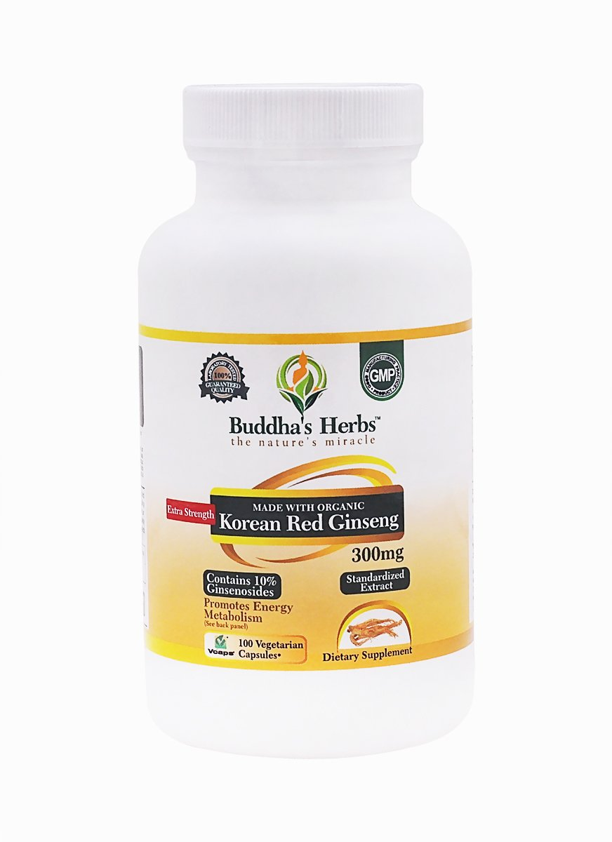 Buddha's Herbs Extra Strength Organic Korean Ginseng (Red Ginseng, 300 mg) for Energy, Focus and Immune Support for Men and Women- Panax Ginseng with Highest (10%) Ginsenosides - Veg Caps