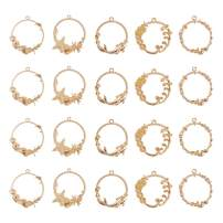 OLYCRAFT 20pcs Sea Theme Open Bezel Charms 5-Style Alloy Frame Pendants Color-Lasting Hollow Resin Frames with Loop for Resin Jewelry Making - Gold