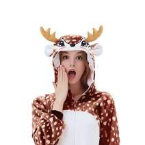 ACOGNA Deer Onesie Reindeer Adult One-Piece Pajama Halloween Christmas Costume Fleece Animal Cosplay Suit