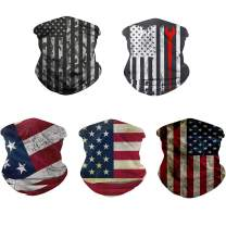 Rainlin 5 Pcs American Flag Outdoor Bandana- Multifunctional Microfiber American Flag UV Protection Face Neck Shields Headwear for Men and Women Motorcycle Hiking Cycling Ski Snowboard