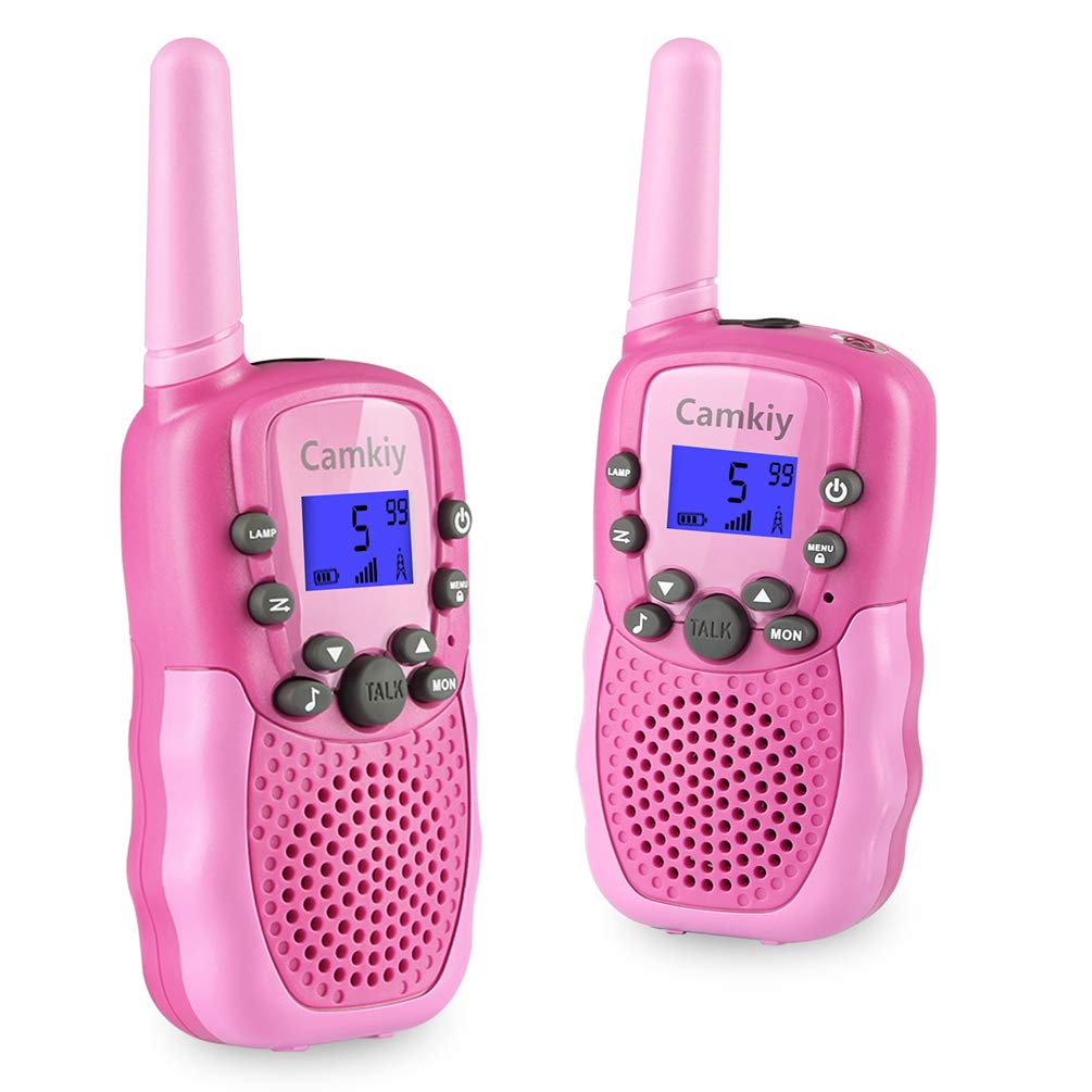 Camkiy Toys for 3-12 Year Old Girls, Walkie Talkies for Kids with 22 Channels 2 Way Radio 3 Miles Long Range Best Gifts Toy for Outside Adventures, Rose Pink