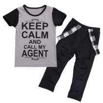Stock Toddler Kids Girls Casual T-Shirt Tops Pants Leggings 2Pcs Trousers Outfits Set