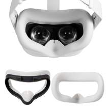 Yocaya VR Silicone Interfacial Cover for Oculus Quest 2 Eye Cushion Cover Sweatproof Lightproof Anti-Leakage (White)