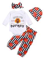 Thanksgiving Baby Girl Outfits My First Thanksgiving Top + Pumpkin Turkey Pants + Headband + Hat Clothes Sets